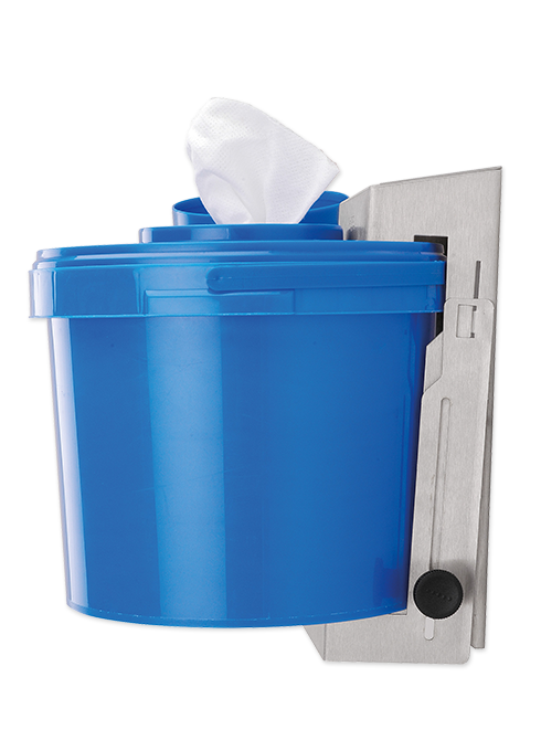 Wall bracket for dispenser bucket